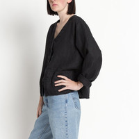 Vintage 90s Black Flax Linen Collarless Smock Shirt | M