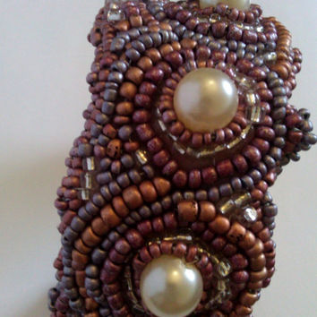 Pastel Pink, Purple, Silver, and Vintage Faux Pearl Beaded Bracer with White Buckskin Back form to Fit All