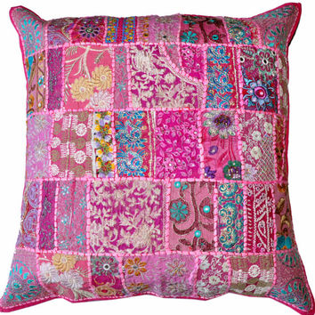 On Sale 24x24 Indian Patchwork Pillow Cover, Pink Bohemian Pillow, Indian Cushion Cover, Throw Pillow Floor Pillow Ethnic Pillow Decor