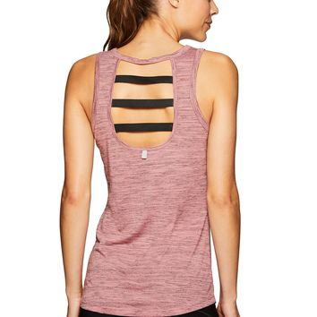 RBX Active Women's Striped Workout Yoga Tank Top Red M
