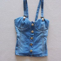 Blue Suspender Denim Top with Button