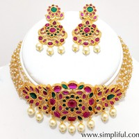 Real Kemp stone Collar Necklace and Earring set