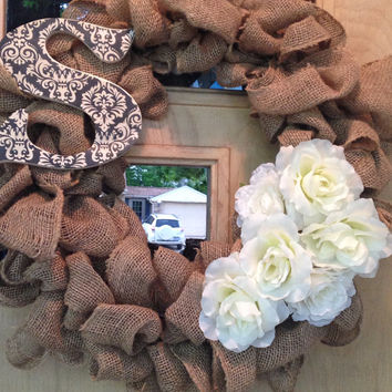 Damask Initial Flower Burlap Wreath