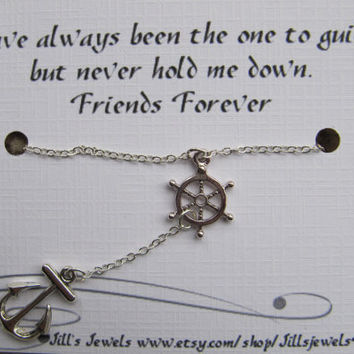 Compass and Anchor Charm Necklace and Quote Inspirational Card- Bridesmaids Gift - Friendship Necklace - Friends Forever - Quote Gift