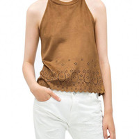 Tan Halter Cut-Out Details Vest