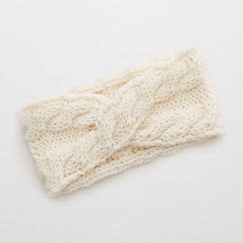 Aerie Cable Knit Twist Ear Warmer, Cream