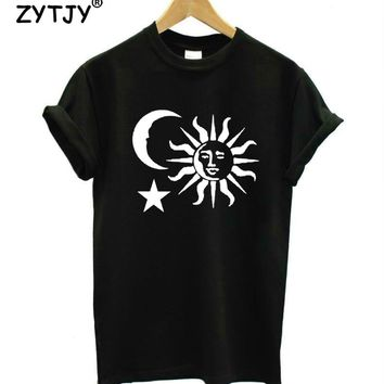 moon sun star Print Women tshirt Casual Cotton Hipster Funny t shirt For Girl Top Tee Tumblr Drop Ship BA-113
