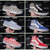 2017 Supreme X Shoes Old Skool Vans Canvas Shoes Brand Women And Mens Supreme Logo Checkerboard Sneakers Skateboarding Shoes