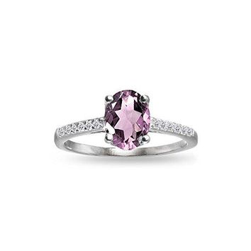 Sterling Silver Simulated Alexandrite and White Topaz Oval Crown Ring
