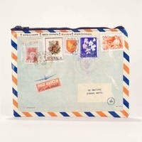 Airmail Zipper Pouch with Stamps