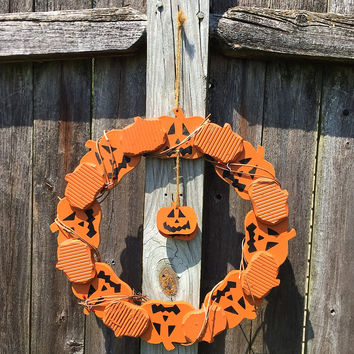 Halloween Jack O' Lantern Wooden Wreath
