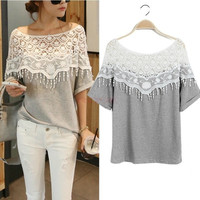 2014 Sweet Hollow Out Lace T Shirt Women Handmade Crochet Cape Collar Batwing Sleeve Blouse Medium-long T-shirt 19221 One size = 1745570116