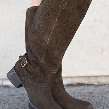This Is Me Naughty Monkey Leather Boots (Dark Olive)