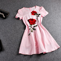 Casual Rose Printed Zipper Back Mini Chiffon Dress
