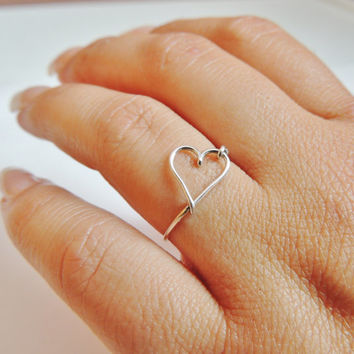 heart ring  - sterling silver wire, 925