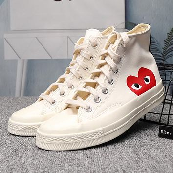 Converse x CDG PLAY Canvas Woman Men Fashion Sneakers Sport Shoe 18d0371b06dd
