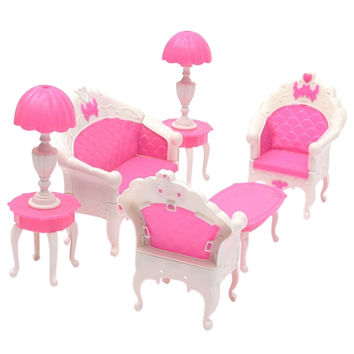 2017 New Arrival 6pcs Cute Dollhouse for Barbie Doll Furniture Playset Living Room Parlour Sofa Hot Sale