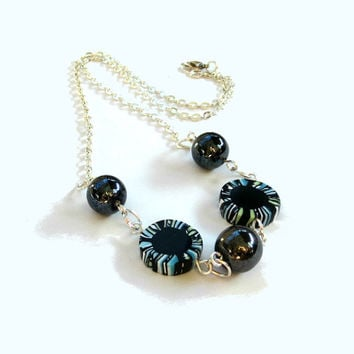 Black Mixed Media Necklace - Black and White, Aqua and Lime Polymer Clay Millefiori and Vintage German Glass Beads - Silver Plated Chain