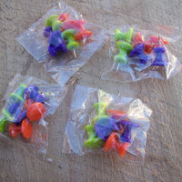 Set of 4 Large Plastic Push Pins Thumbtacks, 24 Total Pieces, Orange Lime-Green Purple Colors, Crafter Gift Supplies, Memo Bulletin Board