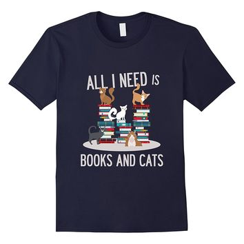 FUNNY BOOKS AND CATS T-SHIRT Book Lovers Cat Gift