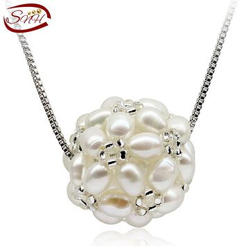 SNH natural freshwater pearl pendant necklace real genuine 925 sterling silver cultured pearl pendant for woman