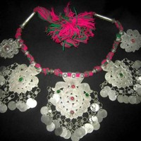 Fancy Afghan Gypsy Tribal Necklace Grapes Leaves And Heart Shaped Hanging Objects