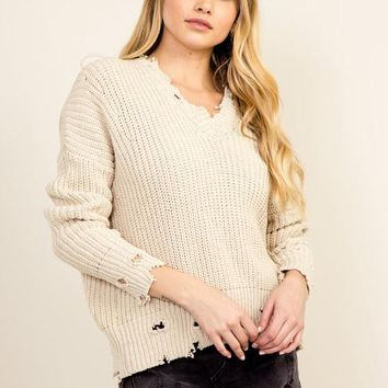 Kixters - Taupe Distressed Sweater