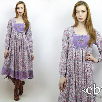 Indian Dress India Dress Hippie Dress Hippy Dress Boho Dress Festival Dress Indian Cotton Dress Vintage 70s Purple Floral Dress S M