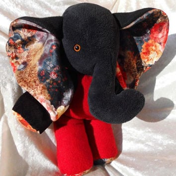 Charming Rose ELEPHANT - black red sooo Romantic and in Love - soft stuffed plush wild tame Luxury Home Decor Animal - Handmade OOAK
