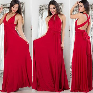 TEMOFON Women Sexy Bohemain Dress Bandage Summer Party Multiway Dress Infinity Bridesmaids Convertible Wrap Ladies Dress ELD734