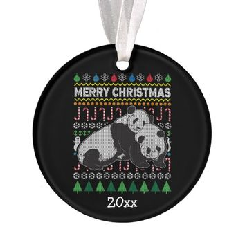 Panda Ugly Christmas Sweater Wildlife Series Ornament