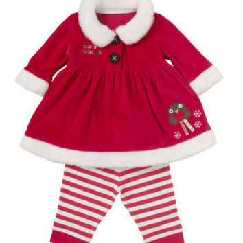 2016 NEW baby Girls  Autumn Winter Clothes Baby Child Toddler Christmas Girls Coat + Pants 2PCS Clothes Set Outfits