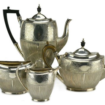 Silver Plated Tea and Coffee Set by James Dixon & Sons, Antique English, circa 1900