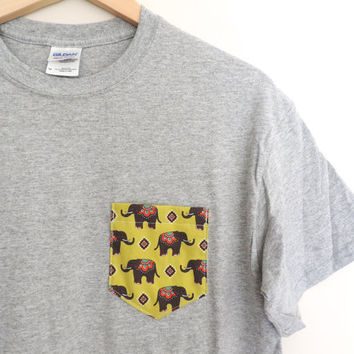 New Aztec Tribal Print Elephant Pocket Tee // Size S/M/L/XL