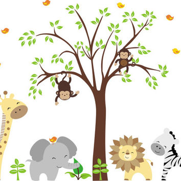 "Nursery Wall Decals, Removable Animal Decals, Reusable Jungle Animal Decals, Baby Room Wall Decals, Zoo Animal Stickers - 84"" x 109"""