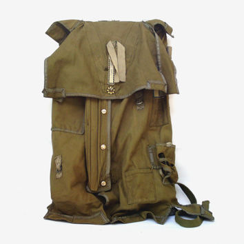 Vintage military parachute backpack Special Forces parachute backpack Army Combat backpack Bulgarian army parachute waxed canvas backpack