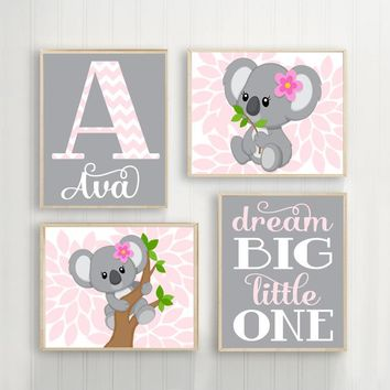 Pink Gray KOALA Nursery, Baby Girl KOALA Nursery Wall Art, Dream Big Little One, Girl Bedroom Pictures Canvas or Prints Set of 4 Pictures