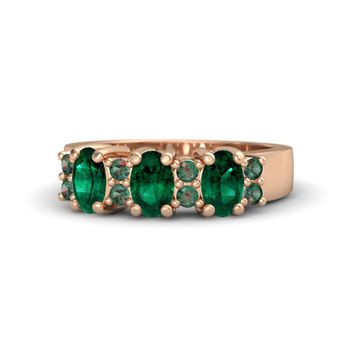 Oval Emerald 18K Rose Gold Ring with Alexandrite & Emerald