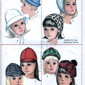 1960's Child's And Girl's Hats Vintage Sewing Pattern / Will Fit Some Adults - See Size. Simplicity 6274