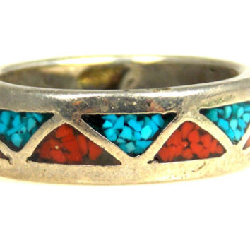 Vintage Crushed Turquoise Red Coral Ring Band Silver Plated Size 6