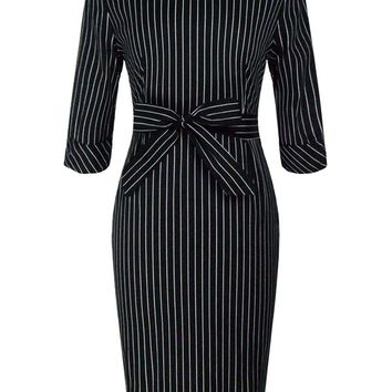 Streetstyle  Casual Modern Elegant Round Neck Bowknot Slit Vertical Striped Bodycon Dress