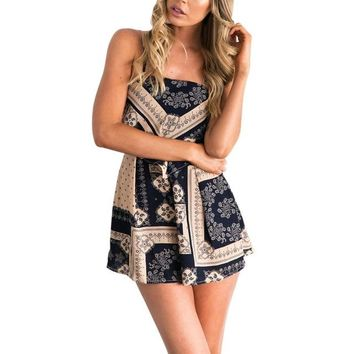 Women's Summer Sleeveless Open Back Mini Romper.    Available in Navy/Beige and White/Blue.    Small to XL.   ***FREE SHIPPING***