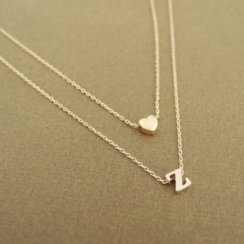 Heart and Initial Layered Necklace- personalized monogram necklace, layered, heart, bridesmaid necklace, gold, lowercase initials