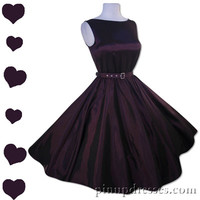 Dark Purple Full Skirt Sleeveless Party Dress Retro Vintage 50s Style
