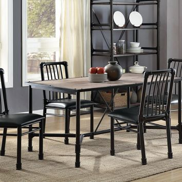 Acme 72035-37 5 pc Caitlin rustic oak finish wood and black metal frame dining table set