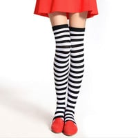 Fashion Cut Thigh High Stripe Over The Knee Socks Long Cotton Stripy Thigh High Stockings Long Socks