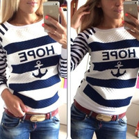 Stripe Anchor Letter Print Sweater