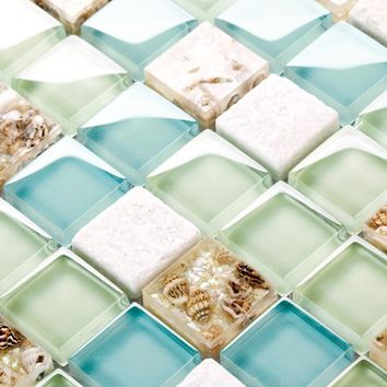 Blue Color Crystal Gl Mixed Sea Shell Mosaic