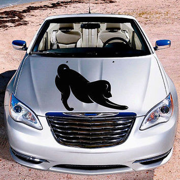 Car Hood Vinyl Decal Graphics Stickers Art Mural Puppy Pets Stretching Dog KJ409