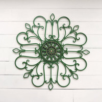 Metal Wall Scroll / Outdoor Decor / Wall Medallion / Green / Scroll / Garden Decor / Home Decor / Wall Hanging / Metal Wall Art